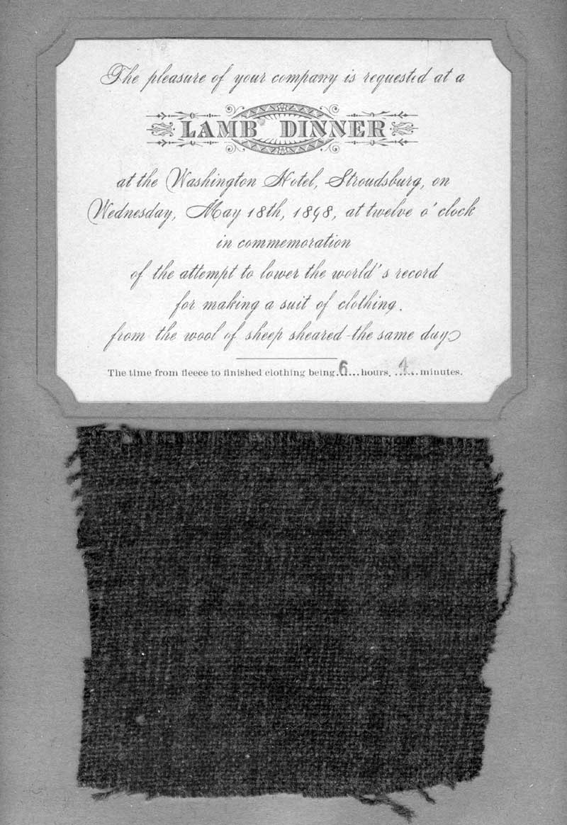 "Invitation for the lamb dinner held May 18, 1898. Thomas Kitson and the Kitson Woolen Mill set a new world's record ""From Sheep to Suit"" in six hours and four minutes; sample of the fabric shown."
