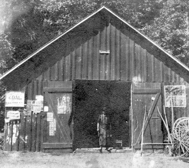 John Gardner at his blacksmith shop in Delaware Water Gap, circa 1910.