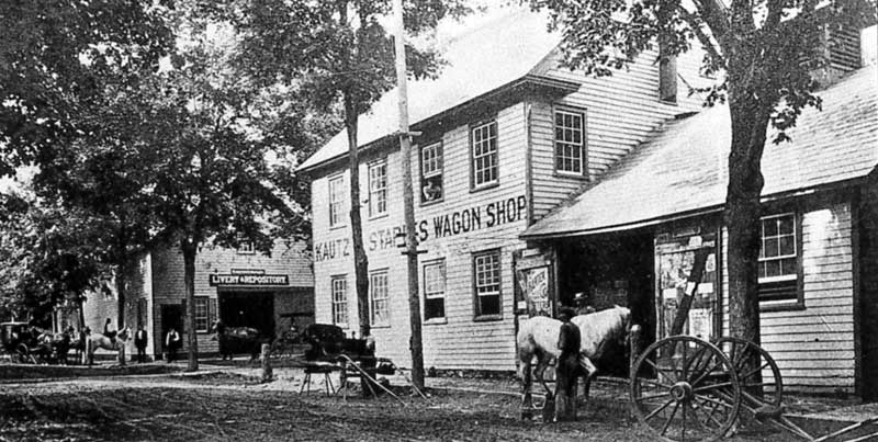 Kautz & Staples Wagon Shop and Livery Stables, corner of Monroe and Pocono streets (now North 9th Street), Stroudsburg, c.1897.