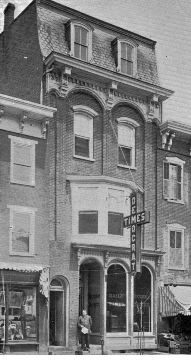 The Times and Democrat was published between 1907 and 1917. This building was on Main Street near 6th in Stroudsburg.