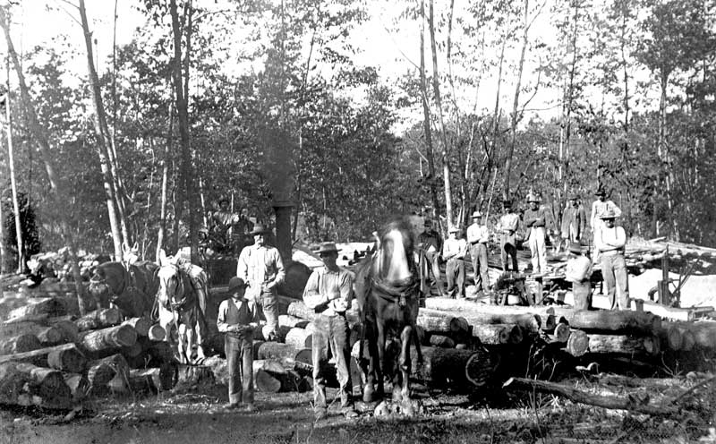 Logging scene by McMichaels photographer Professor Philip Kishpaugh.