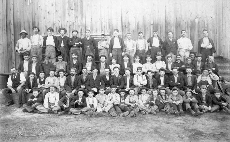 East Stroudsburg Glass Works employees in 1893. The company began production in 1877 and reached 35,000 gross of bottles a year.