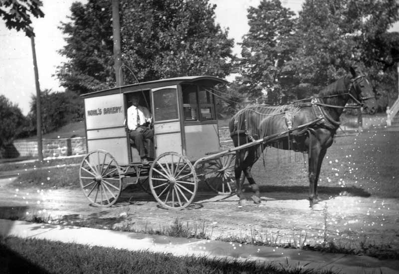 Kohl's Bakery was located on West Main Street in Stroudsburg. The bakery wagon made deliveries around 1920.