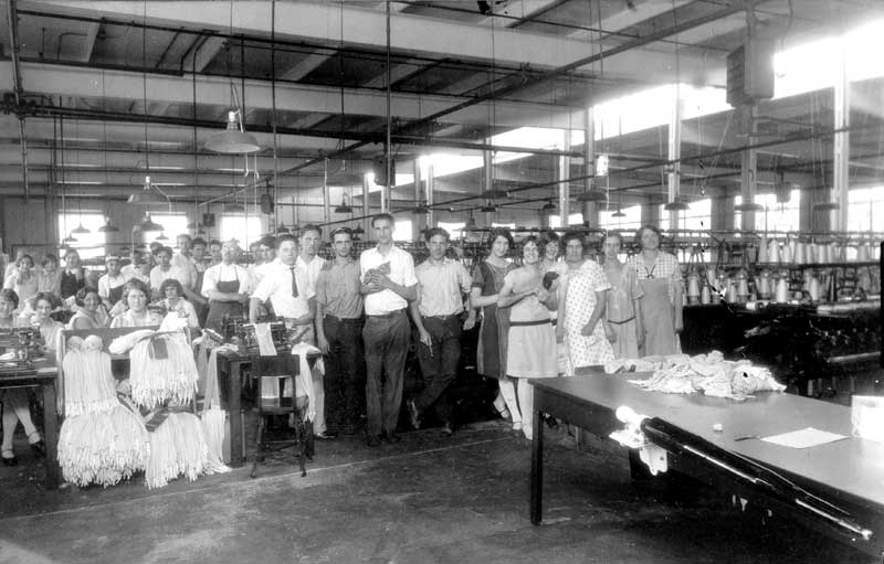 The seaming department of the Mammoth Hosiery Mill on Main Street in Stroudsburg