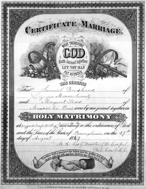 Marriage certificate of Samuel Brodhead and Margaret Tidd, who were married August 29, 1849.