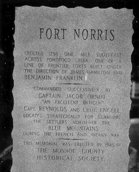 Historical marker for Fort Norris, which was located one mile south of Route 209 near Kresgeville. This fort was commissioned by Benjamin Franklin to protect early settlers from Indians.