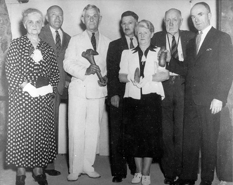 Members of the Monroe County Historical Society, circa 1936. From left: Dr. Mary Erdman, president; Dr. Robert Brown, secretary; Carl Claussen; Jacob Knauf; Mrs. N.A. Frantz; Dr. Roberr Brown Keller, and Dr. Nathan Meyer.
