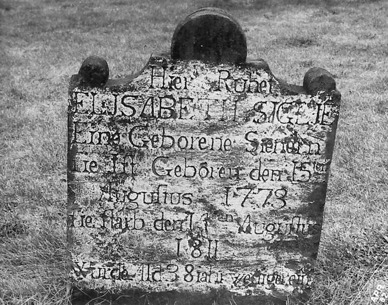 Headstone of Elizabeth Siglie, who was born Aug. 15, 1773 and died Aug. 4, 1811. Monroe County was home to many settlers from Germany, as noted by her headstone.