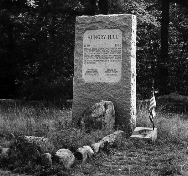 Gen. John Sullivan and his troops camped at Hungry Hill in Tobyhanna Township in 1779. The militia had been sent north by Gen. George Washington to defend the area against the Iroquois. This memorial marks the resting place on an unknown Revolutionary War soldier.