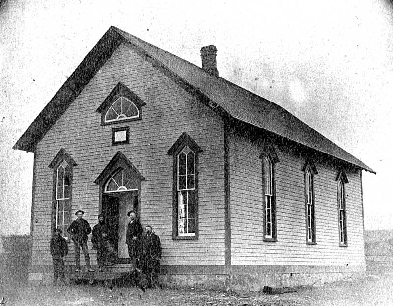 The Reeders Methodist Church was built in 1883 and was part of the Tannersville Circuit. This church shared one minister with three other churches. From left are Ed Possinger, Theodore Woodling, Jacob Doll, Mike Woodling, and the Rev. G.W. Dugan, who dedicated the church.
