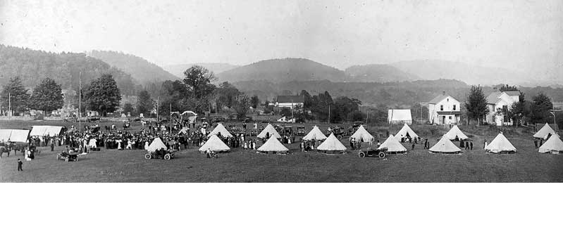 Methodist revival meetings in Delaware Water Gap, circa 1900. As camp meeting popularity grew, open fields became places to sponsor and house these revival gatherings.