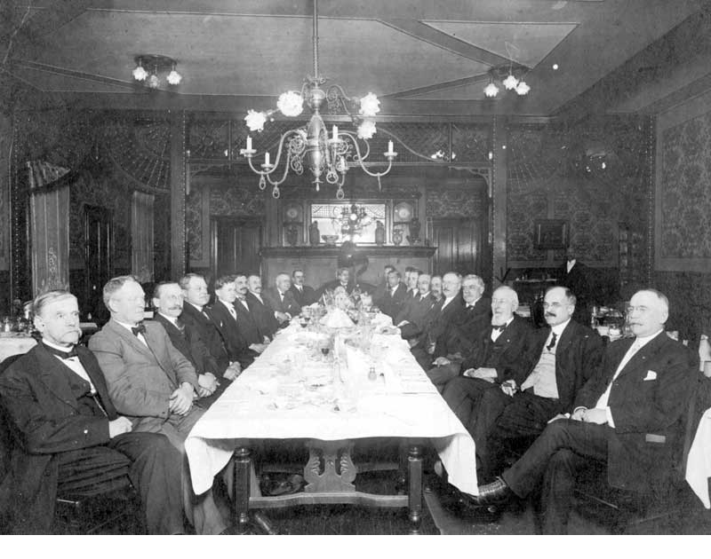 The Banker's Banquet at the Indian Queen Hotel, January 27, 1912, given by hotel president Charles Dean Wallace for the directors and officials of the Stroudsburg National Bank.