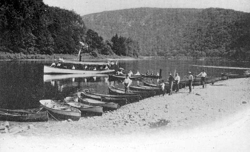 Delaware River boat landing at Delaware Water Gap, circa 1900.