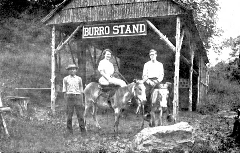 Ready for a mountain climb on burros in Delaware Water Gap, circa 1903.