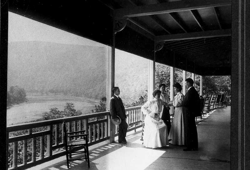 View of the Delaware Water Gap from the veranda at the Kittatinny Hotel.